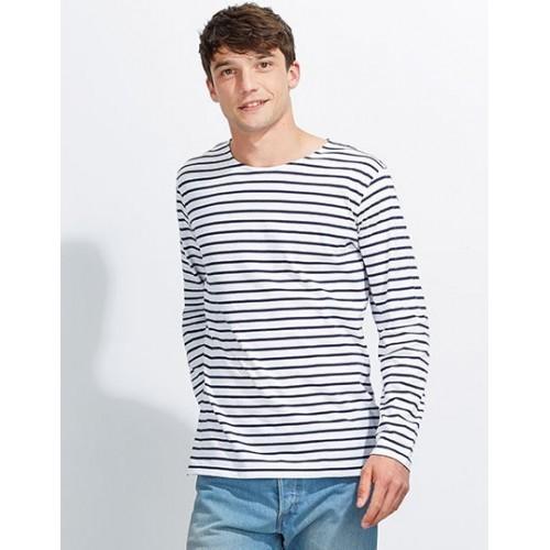 Pruhované tričko Bílo-modré dlouhé SOL´S - pánské