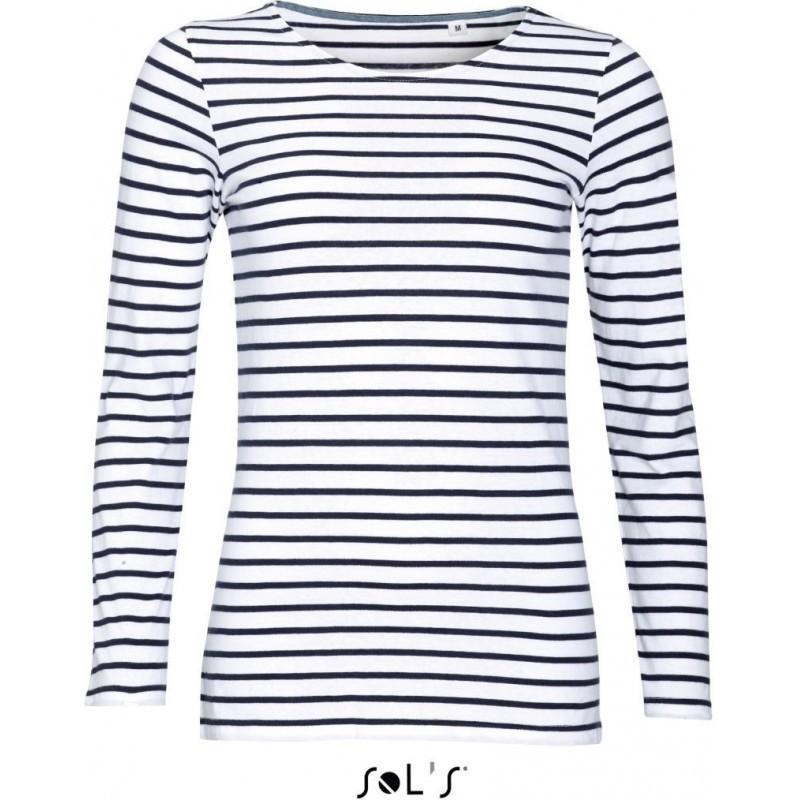 Pruhované tričko Bílo-modré dlouhé SOL´S - dámské