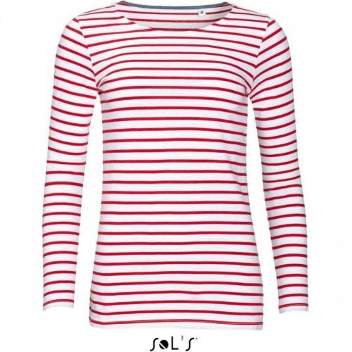 Pruhované tričko Bílo-červené dlouhé SOL´S - dámské
