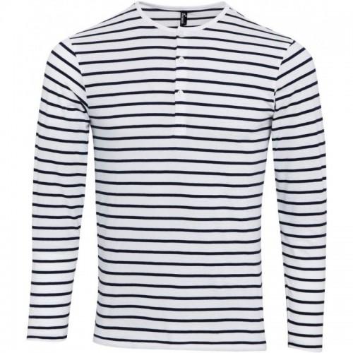 Pruhované tričko dlouhe Bílo-Modré Premier - pánské
