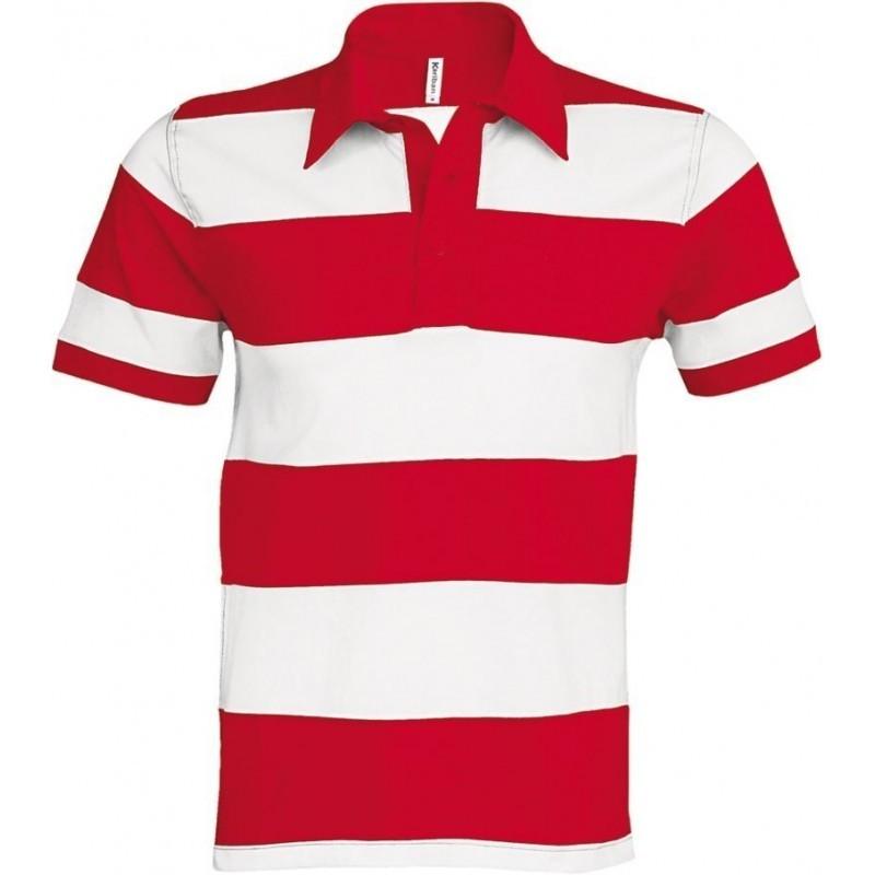Pruhované tričko Bílo-červené Kariban - pánské