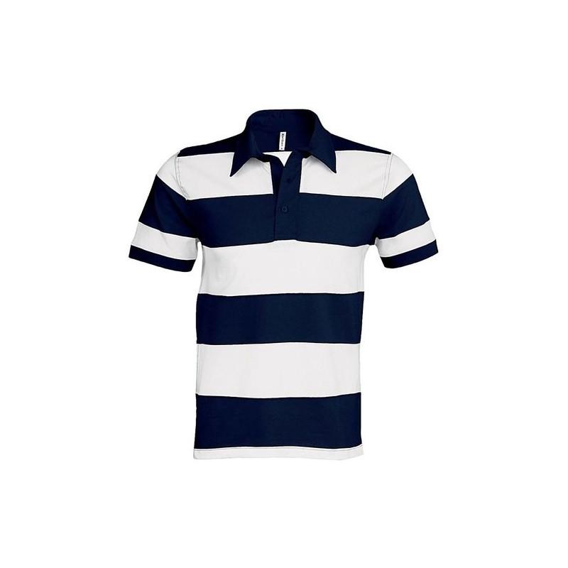 Pruhované tričko Bílo-modré tmavé Kariban - pánské
