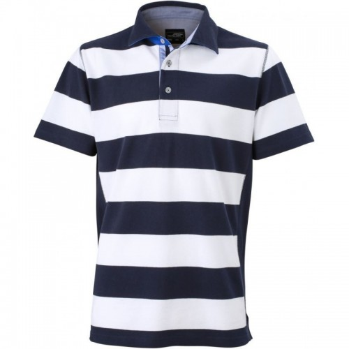 Pruhované tričko Bílo-modré James & Nicholson - pánské