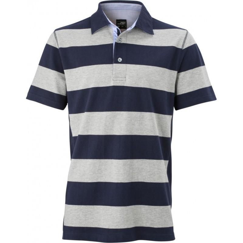Pruhované tričko Šedo-modré James & Nicholson - pánské