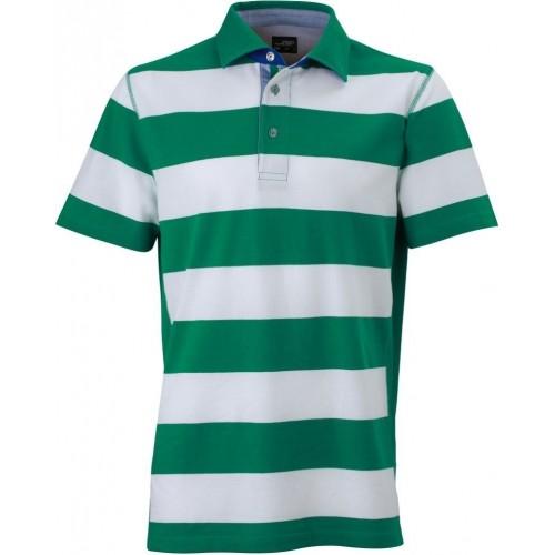Pruhované tričko Bílo-zelené James & Nicholson - pánské