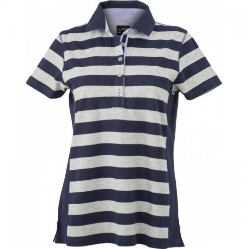 Pruhované tričko Šedo-modré James & Nicholson - dámské