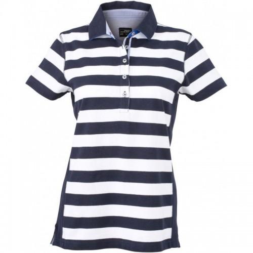 Pruhované tričko Bílo-modré James & Nicholson - dámské